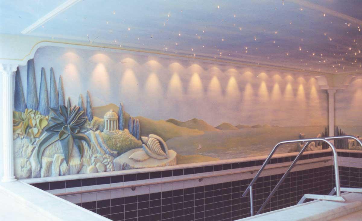 3D Hallenbad Wand Gestaltung - Plastik und künstlerische Wand Bbemalung in einem privaten Hallenbad