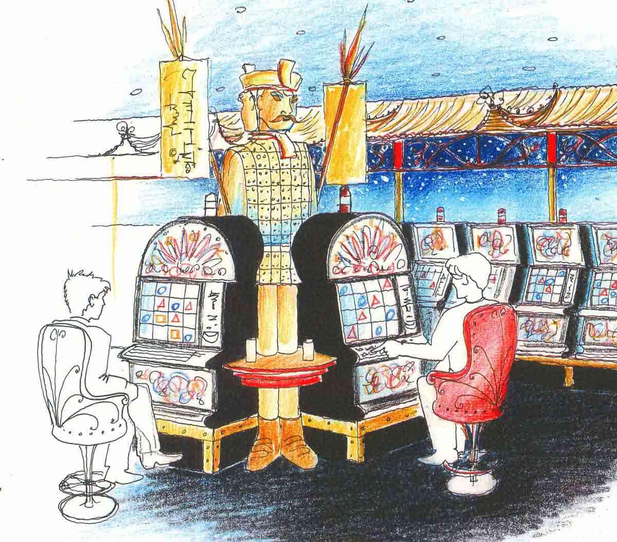Asien Casino Konzept für Slot Machines mit dem Thema Xanadu in der Interior Design Planung