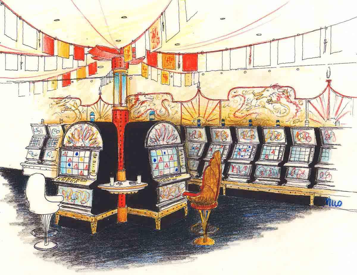 Asiatische Stilelemente und Themen Interior Design Dekorationen für ein Slot Machine Casino Konzept