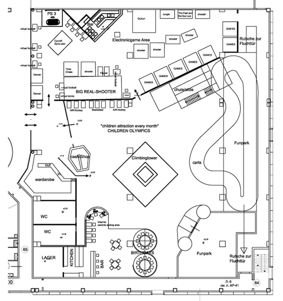 Shopping Center Astana - große Indoor Kinder Spielhalle - Grundriss für alle Bereiche Ausstattung Interior Design Planung Milo