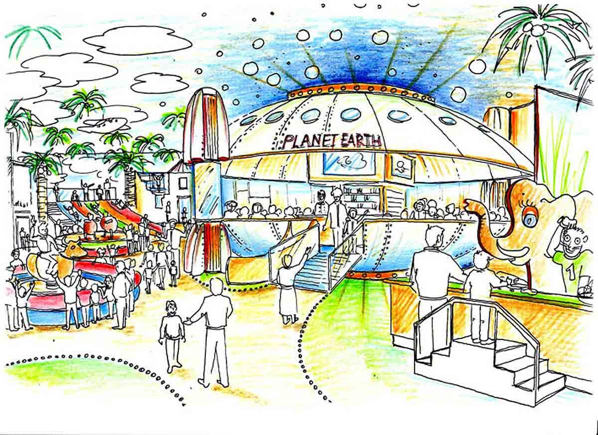 Shopping Center Astana - Einblick in die Spielhalle - mit Gastronomie und Spielgeräten in der Raum Ausstattung Design Planung von Milo