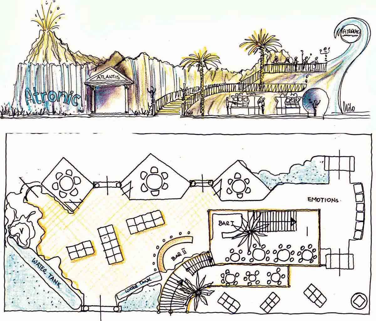 Atronic G2 Las Vegas Messestestand - Skizze für eine Themen Architektur Design Planung Milo