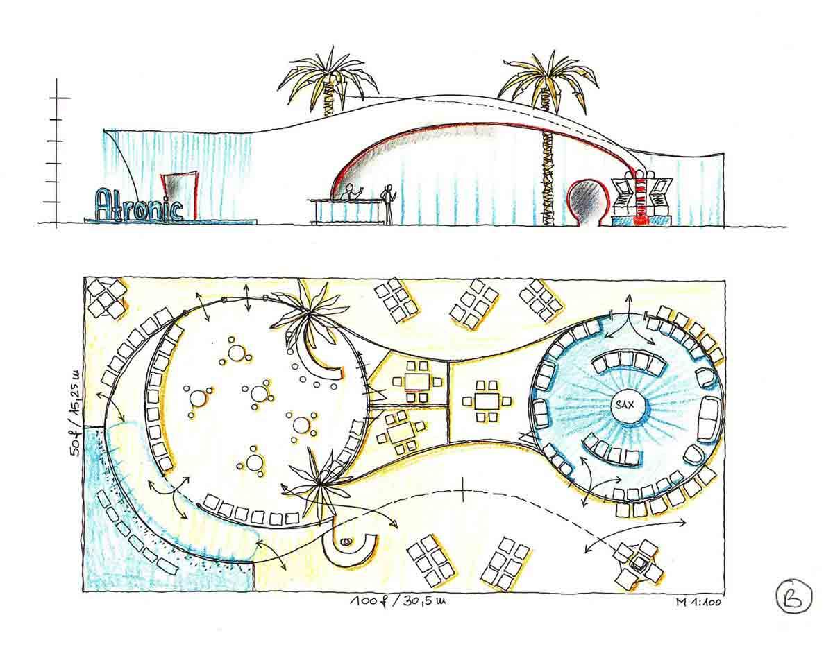 Las Vegas Casino Messe G2 - Messestand Architektur Ausstattung Design Entwurf 2. Variante von Milo für Atronic Casino Company USA
