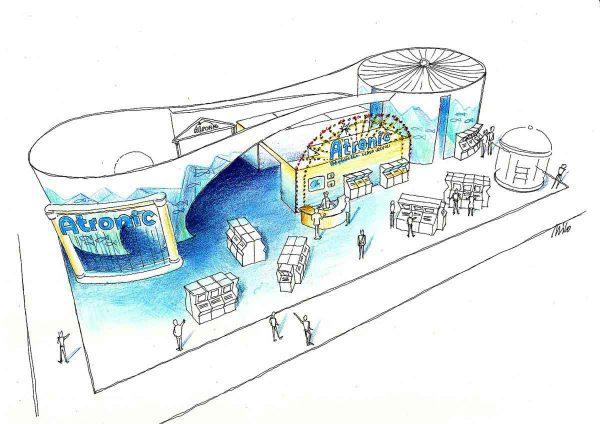 Casino Messe Las Vegas G2 - die Wände des Atronic Messe Standes werden mit fantastischen Projektionen zum Leben erweckt