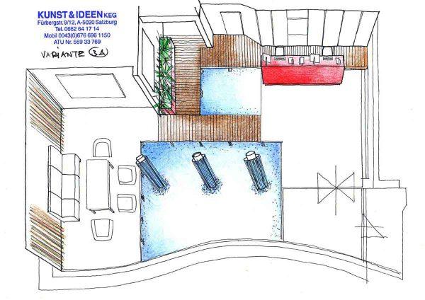 Bikar Metalle - Eingangshallen Empfangs Raum mit Wasser Objekten - Ideen Ausstattung Interior Design Konzept Milo