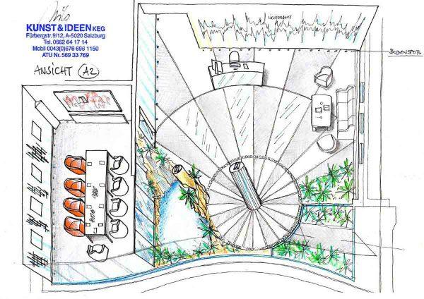 Bikar Metalle Eingangshalle Konzept Variante - Bodenl mit eingelegten Metall Elementen - Ideen Innenarchitektur Design Planung Milo