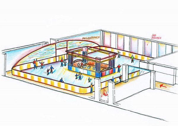Bitterfeld Ice Free Eislaufplatz - dekorative Raum und Licht Ausstattung Design Planung von Milo