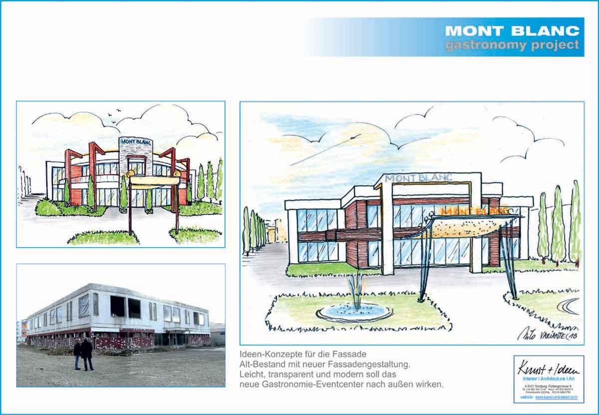 Bestand Gebäude in Brasov - Aussenfassaden Ideen Entwürfe für das Gastronomie Event Center Projekt mit der Design Planung