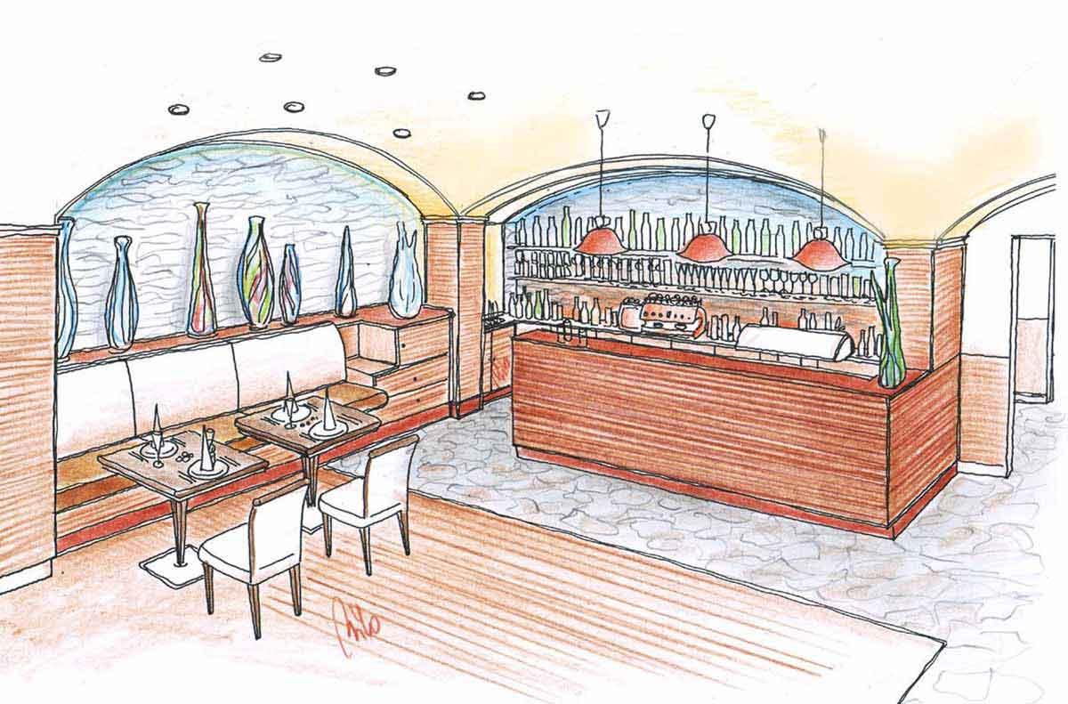 Restaurant Bistro Schank Bar - eine elegante Interior Design Planung von Milo