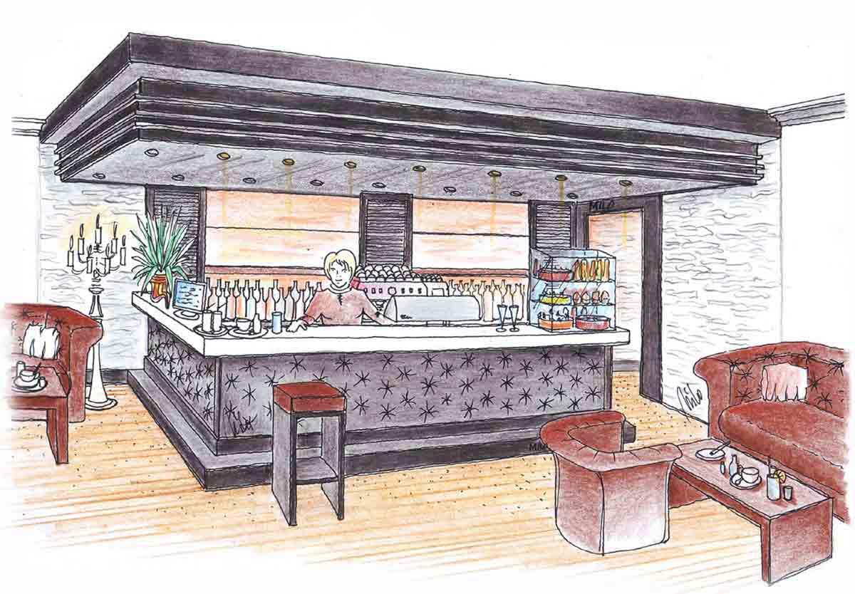 Gastronomie Event Center mit der Kaffeehaus Bar - eine elegante hochwertige Interior Design Planung