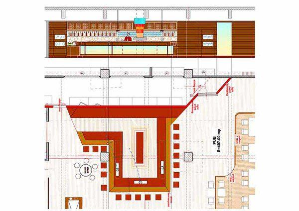 Mont Blanc Gastro Event Center - technischer Grundriss Plan für die Musik Pub Bar und der Interior Design Planung