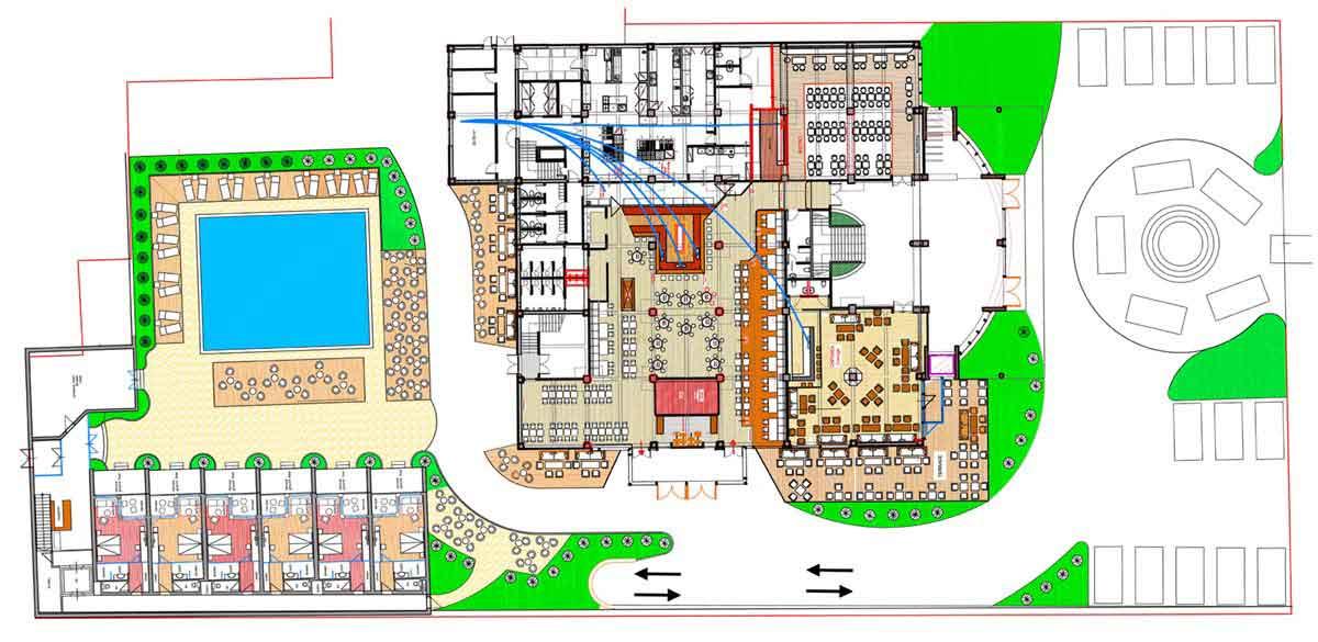 Gastronomie Event Center Mont Blanc - mit der Grundriss Gesamt Planung für das Hotel und die 6 Themen Lokale und der Ausstattung Design Planung