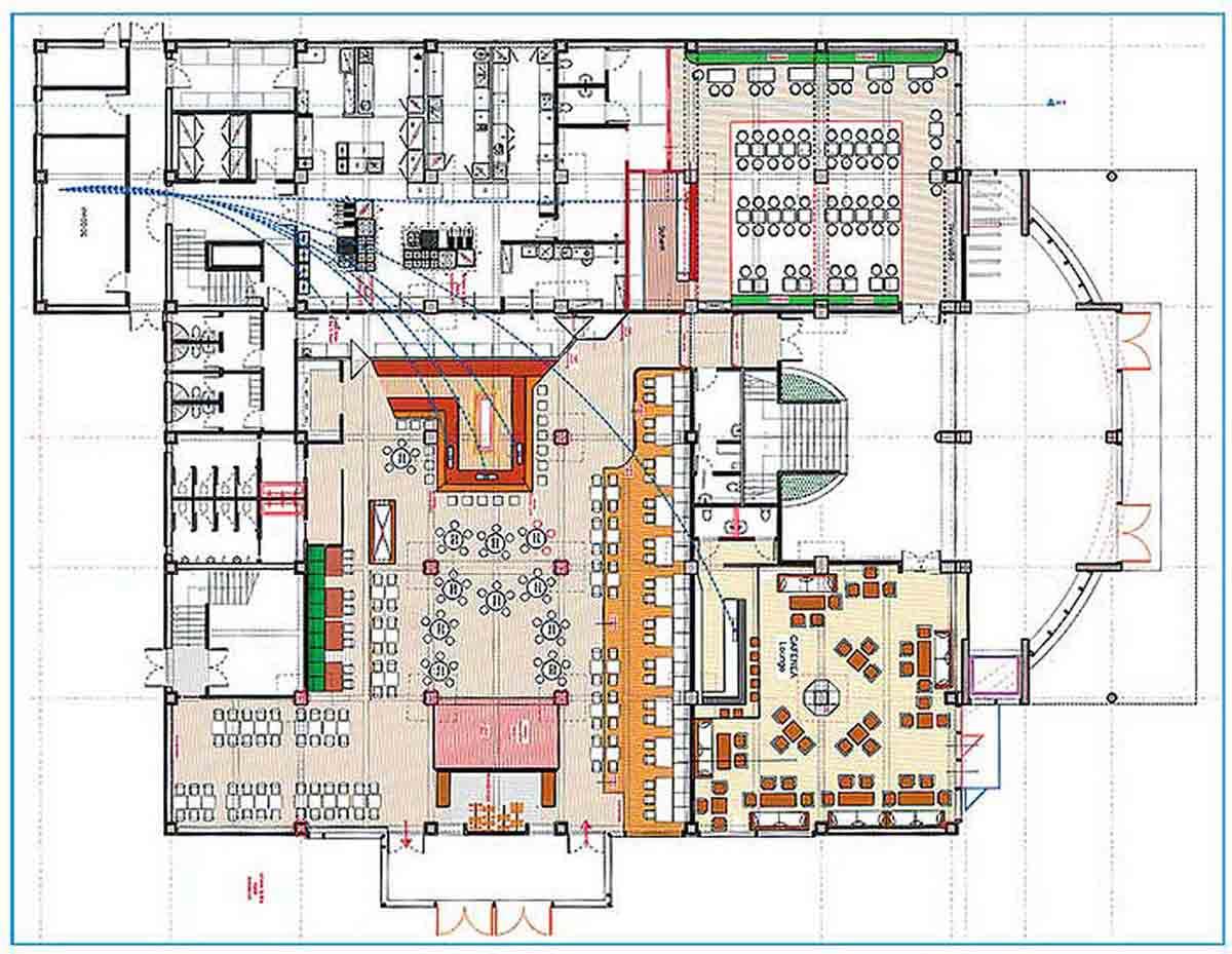 Mont Blanc Event Gastronomie - Erdgeschoss Interior Design Planung der verschiedenen Lokal Bereiche