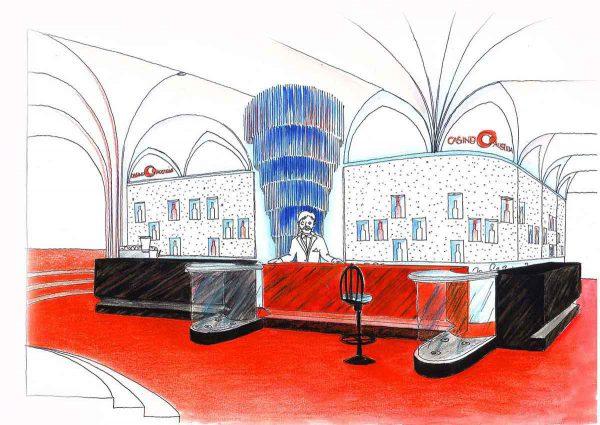 Casino Spiegel und Glas Objekt Bar - eine Interior Design Planung von Milo