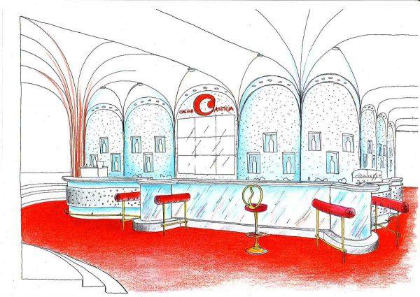 Casino Bar Konzept - Glas Led Metall Raum Ausstattung - mit wandelnden bewegten Licht Stimmungen