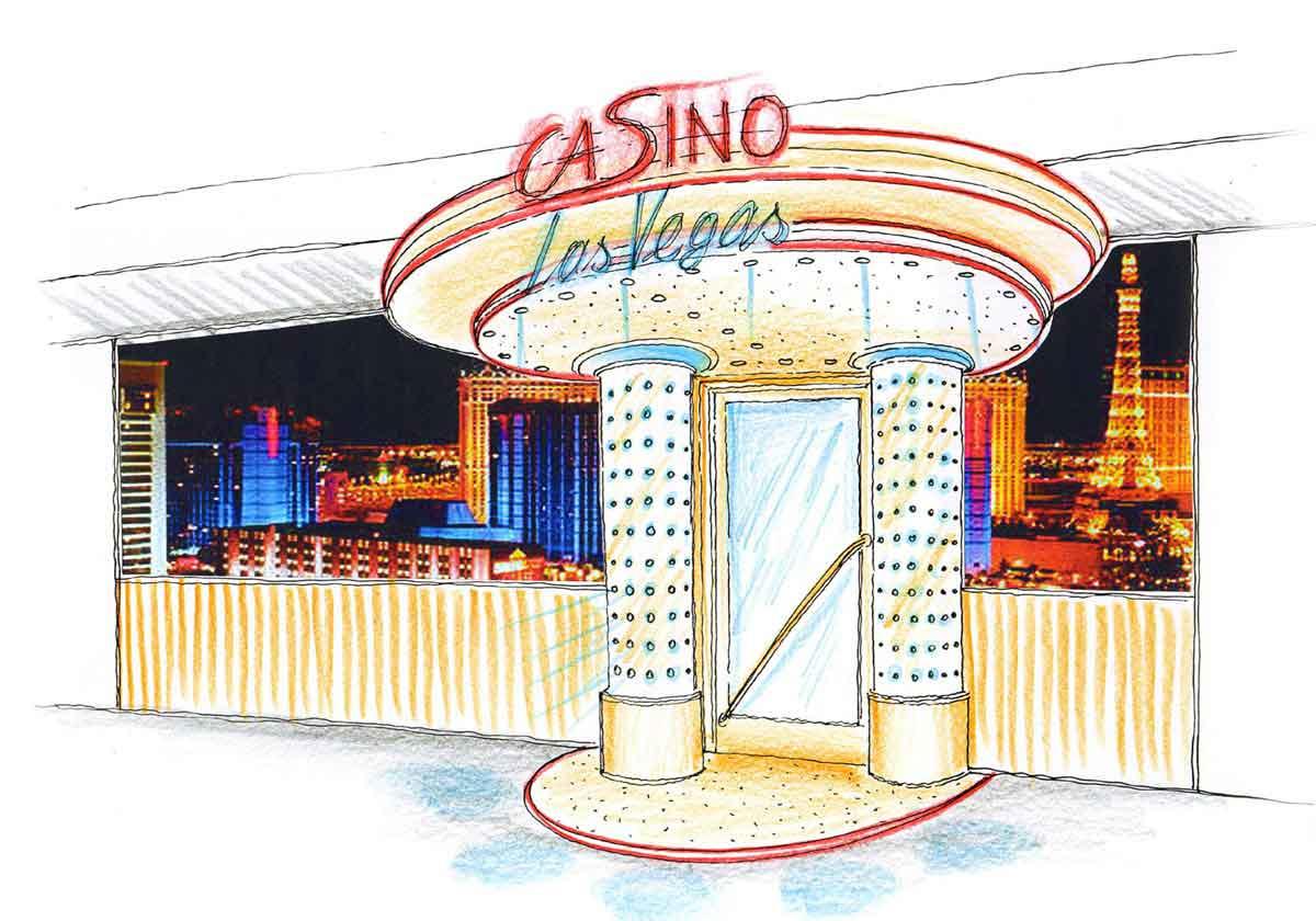 Slot Machine Casino Eingang - Entwurf Fassaden Gestaltung und Licht Design Planung Konzept von Milo
