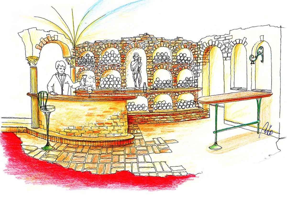 Weinkeller Themen Bar - für Weinverkostungen und Präsentationen - eine Milo Interior Design Planung