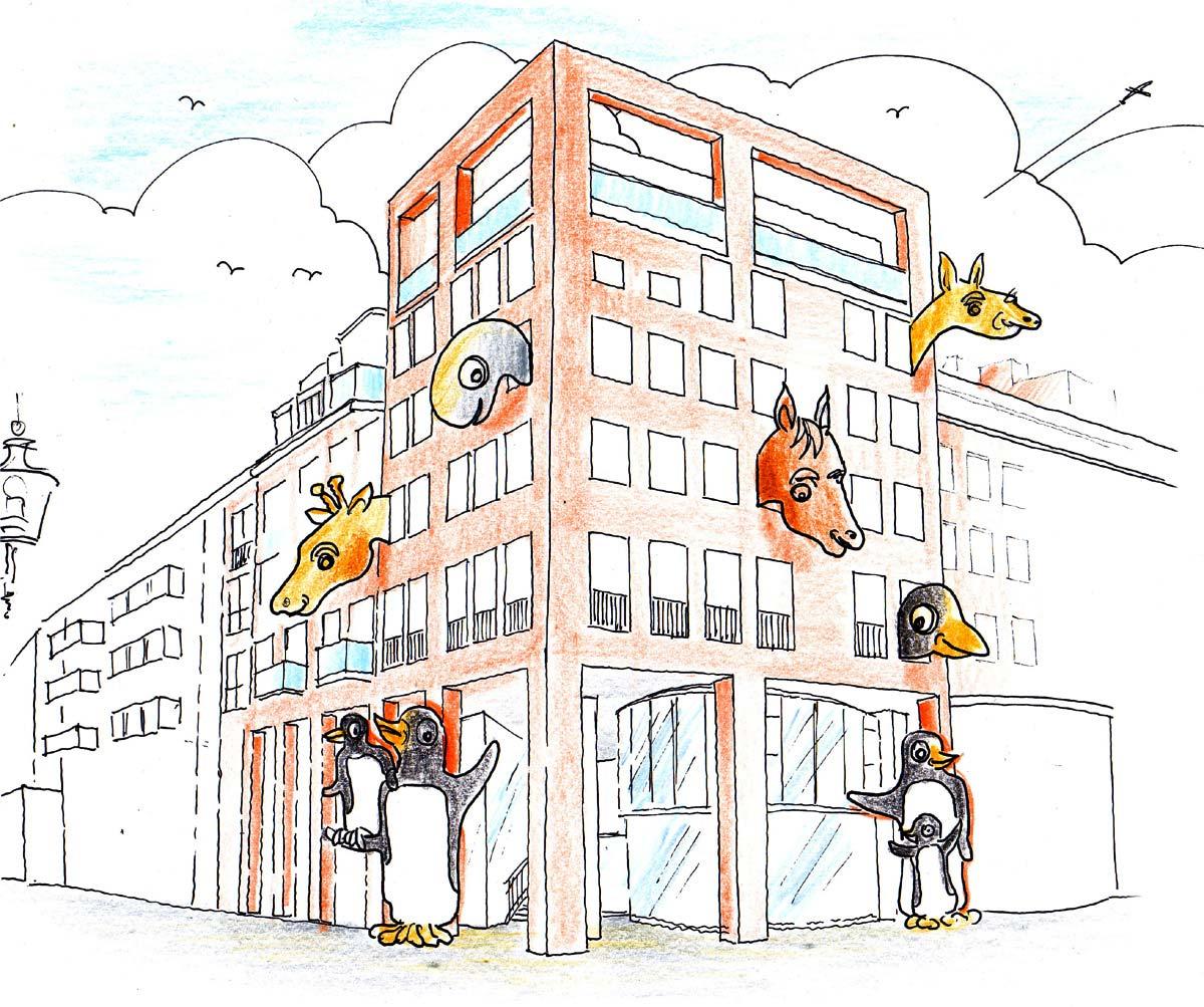 Kinderhaus Chemnitz - Fassadengestaltung mit beweglichen Tierköpfen in der Ideen Konzept Design Planung von Milo