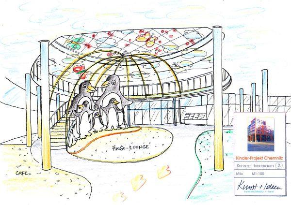 Kinder Haus Chemenitz - Innenbereich mit Lichtbögen und Schmetterlings Kunst Objekten in der Ausstattung Design Planung von Milo
