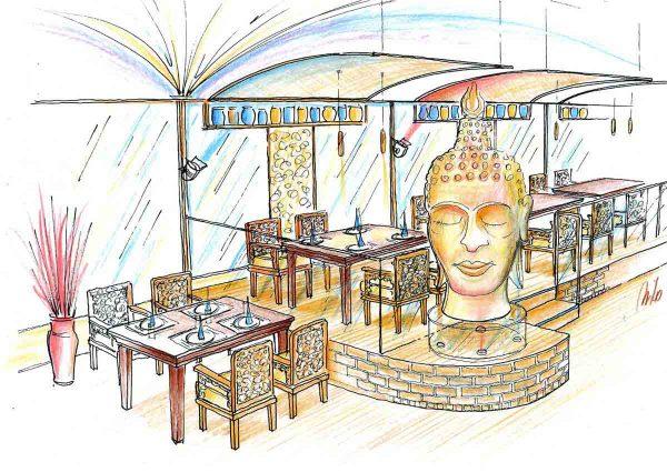 Coffee In - eine Ideenskizze für den Asien Restaurant Themen Bereich in der Interior Design Planung von Milo