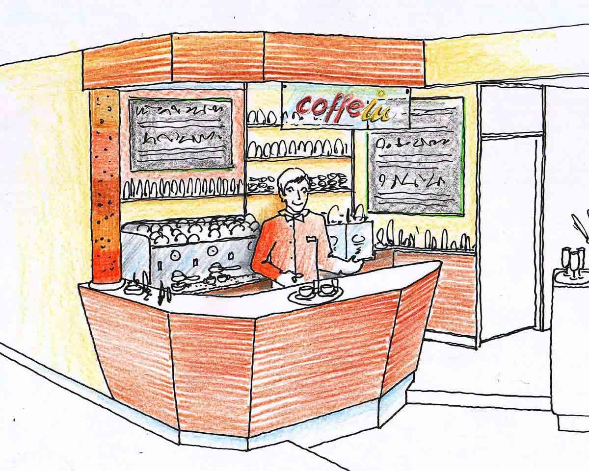 Variante zur Ideen Konzept Planung für  Kaffee Barista Bar Station im Coffee In