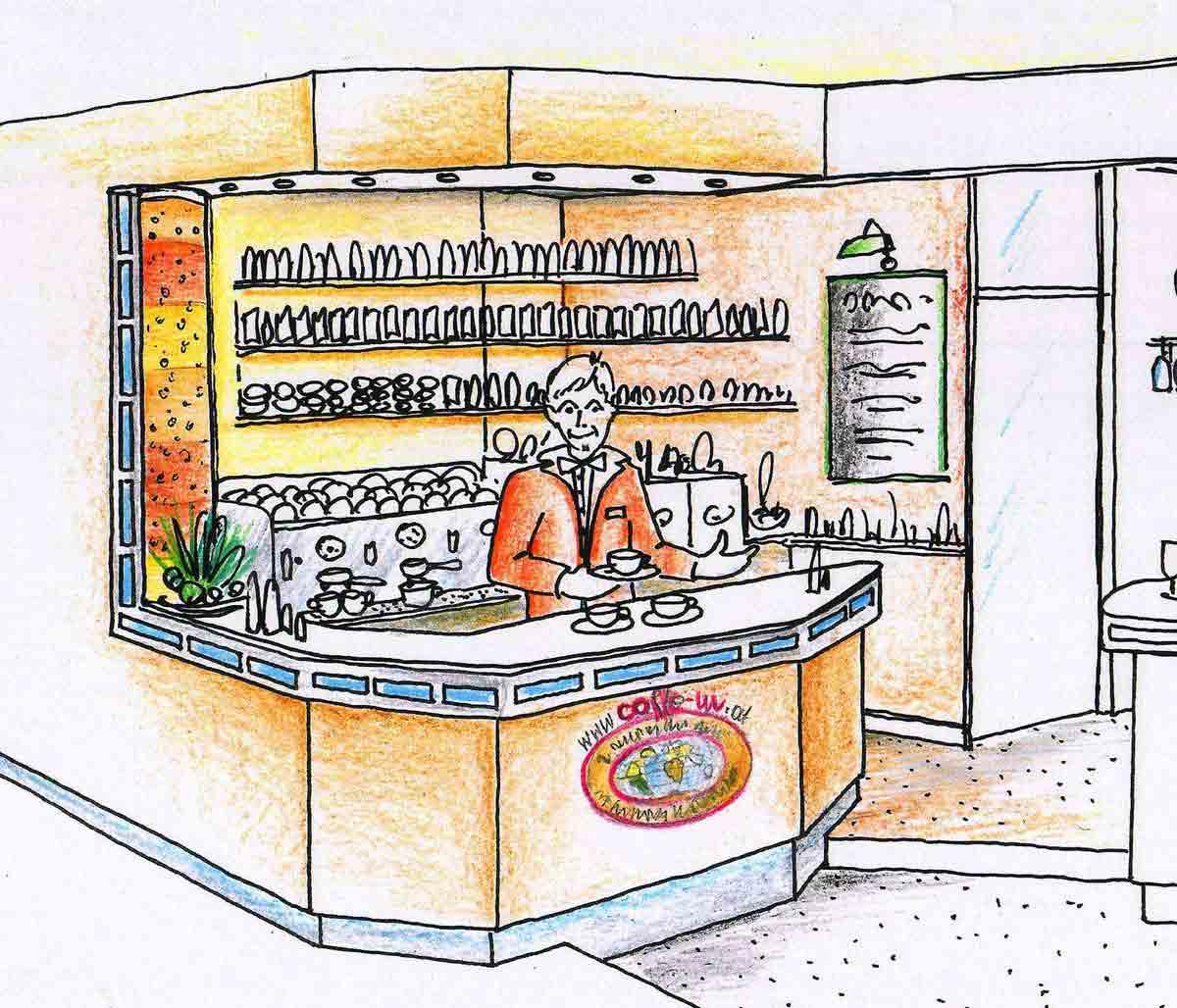Ideen Kozept Planung für  Kaffee Barista Bar Station im Coffee In