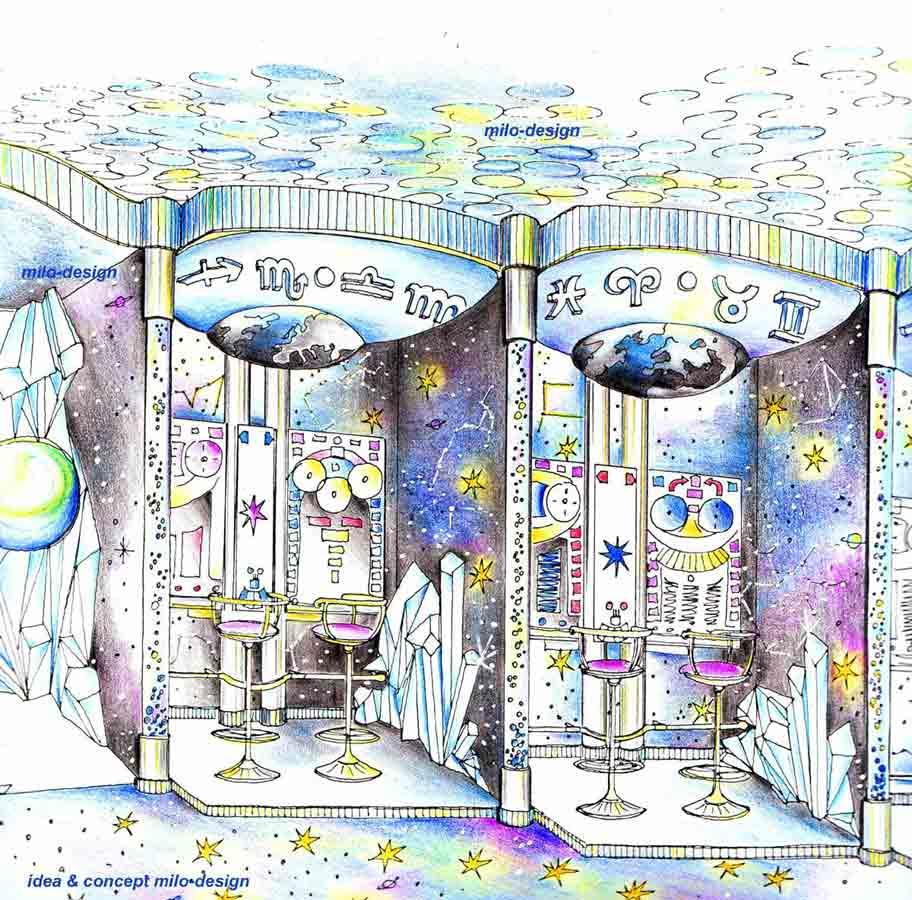 """Dekorative Slot Casino Ausstattung - zum Thema """"Sternzeichen"""" in einer Konzept Interior Design Planung von Milo"""