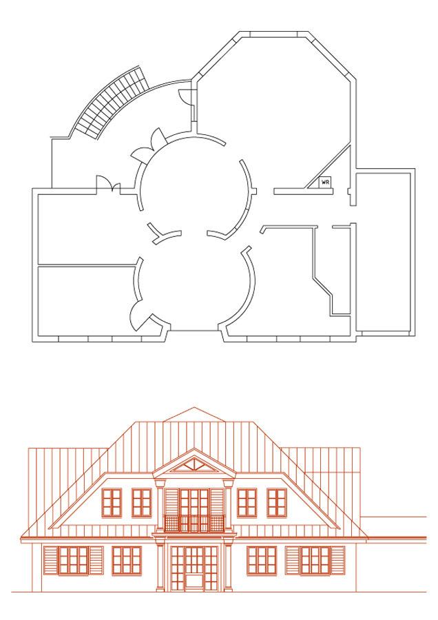 Haus Fassaden Konzept - Ansicht von der Straße her - Milo Design