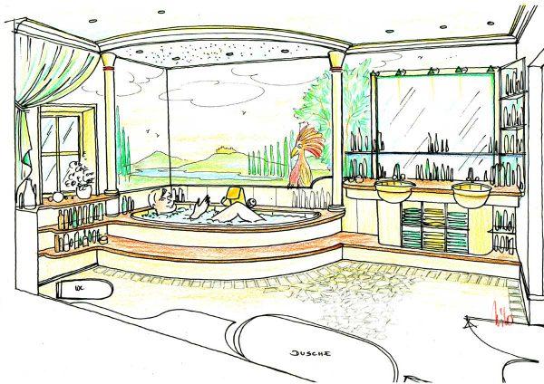 Landhaus Themen Bad Konzept Deutschland - Bäder Variante Interior Design Planung Milo