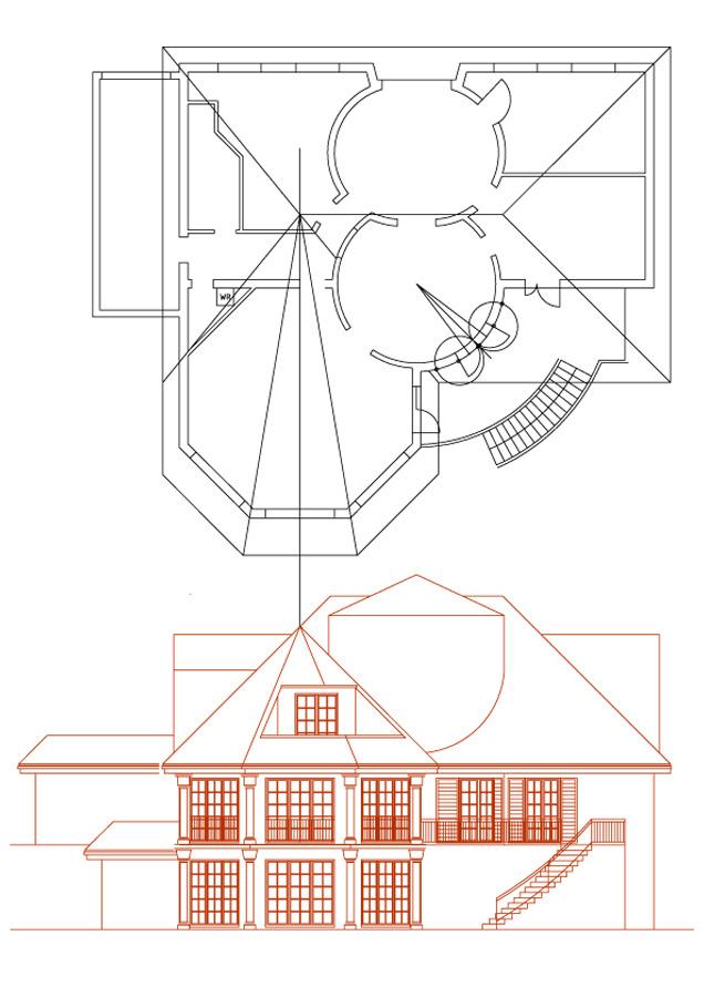 Mediterranes Haus Projekt - technische Fassaden Zeichnung vom Garten her - Design Planung Milo