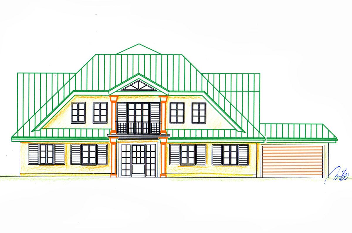Haus Fassaden Entwurf - farbige Ansichts Skizze - Milo Design Planung