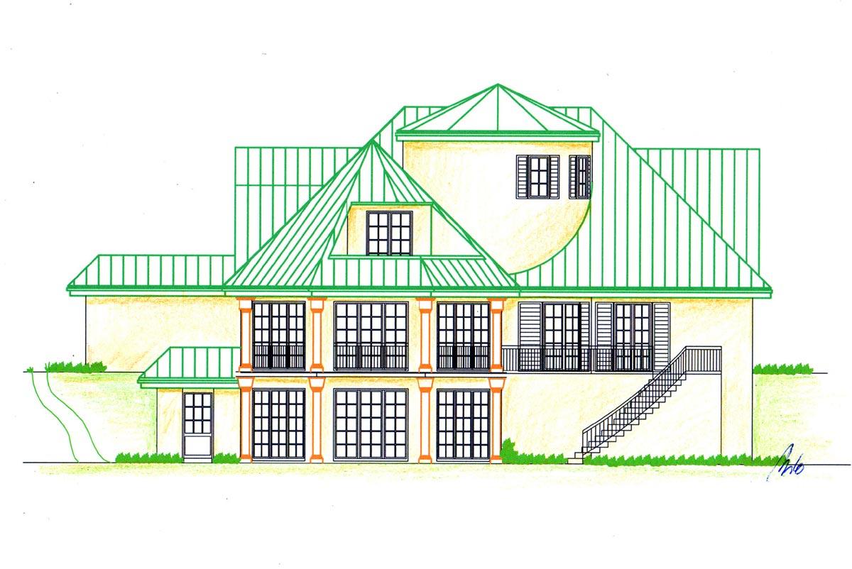 Mediterranes Haus Projekt - detailierte Fassaden Ansicht vom Garten her - Milo Design Planung