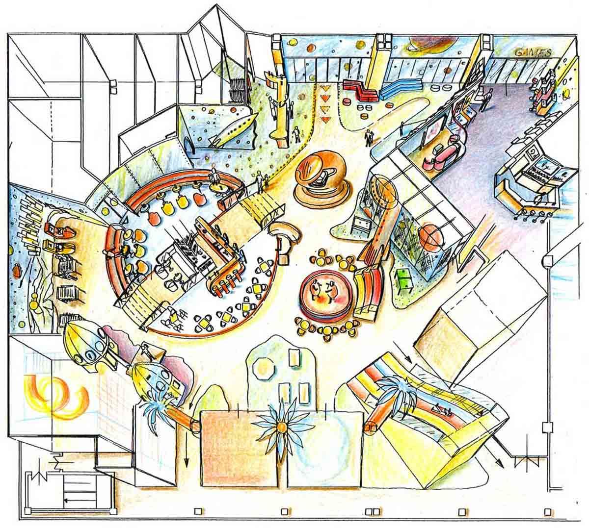 Shopping Center Astana - Vogelperspektive - Kinder Spielhalle in der Raum Ausstattung Design Planung von Milo