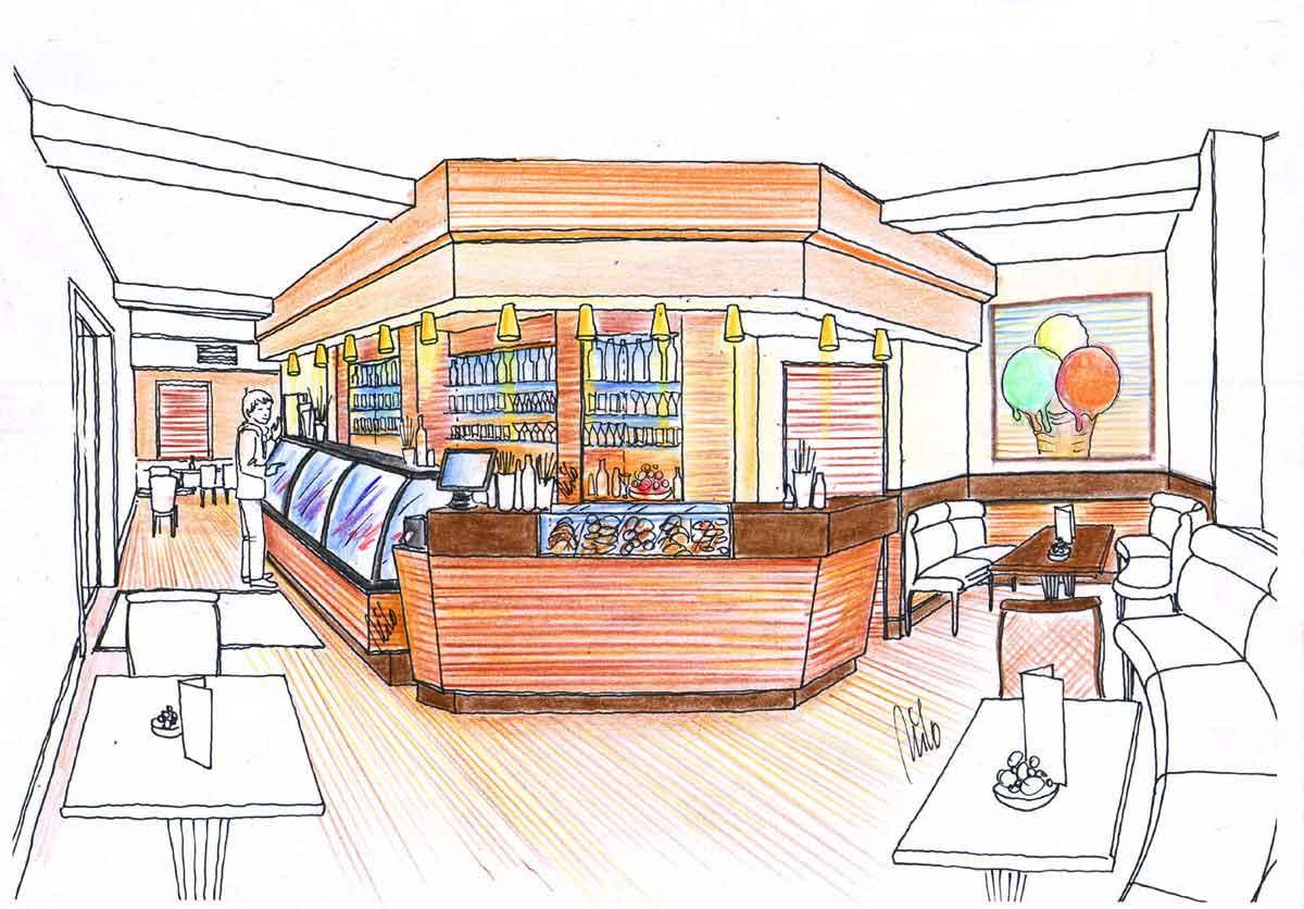 2te Variante Ideen Design Skizze für das Eiscafe Bagio