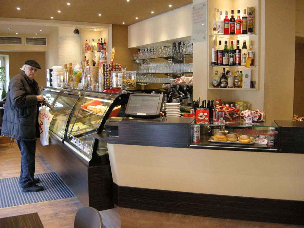 Neues Eiscaffee Baggio Design - München Solln - moderneres, eleganteres Interior und Licht Design von Milo