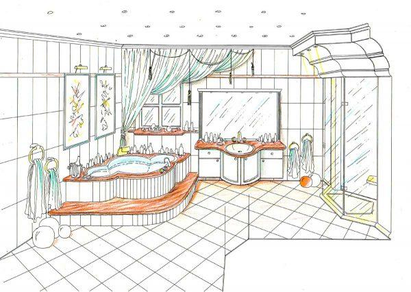Elegantes Themen Bad - mit eingebautem Effekt Stimmungs Licht - eine Konzept  Innenarchitektur Interior Design Planung