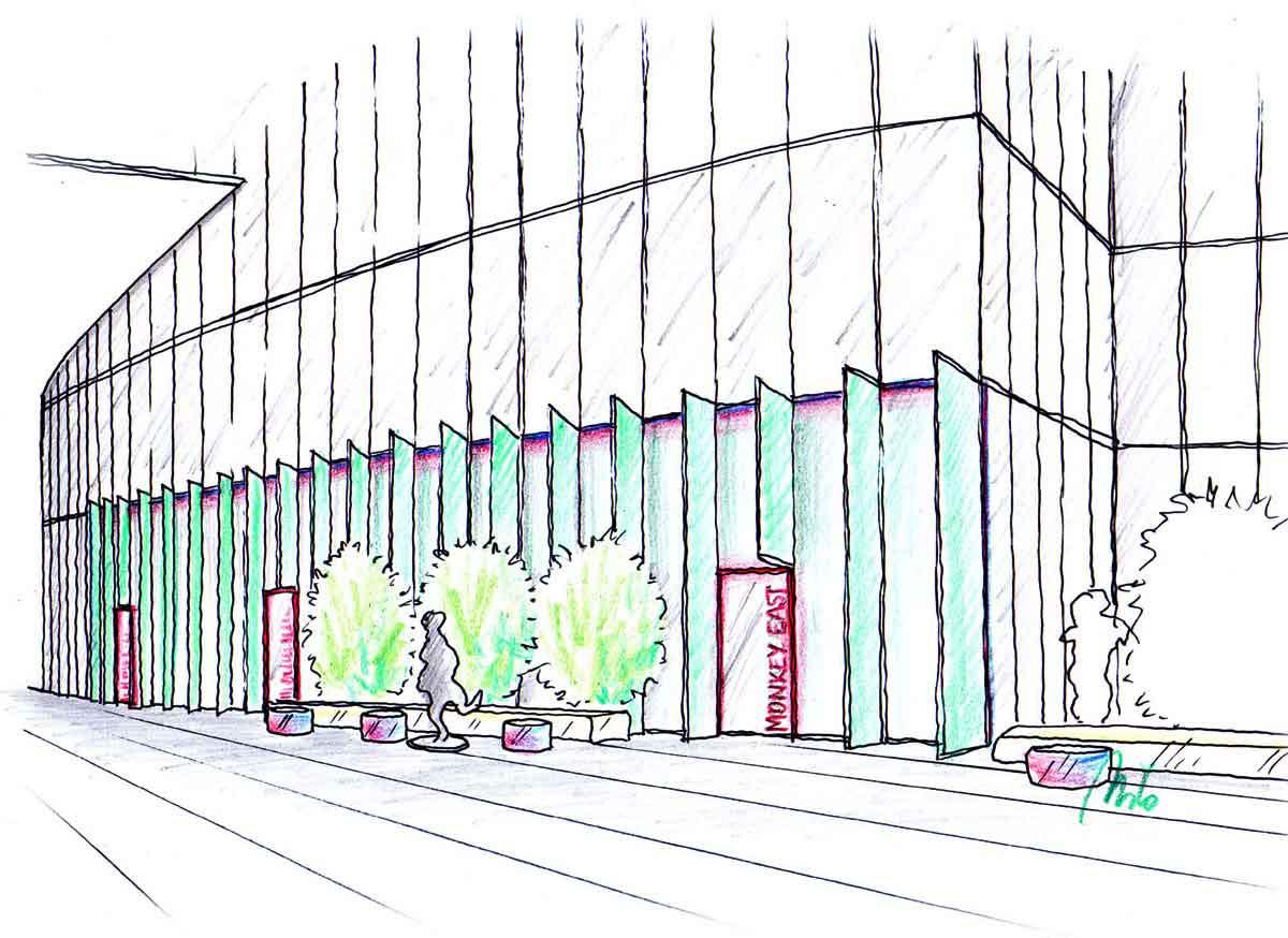 Fassaden Gestaltung der Sushi Gastronomie -  mit LED LIcht Lamellen - eine Design Planung von Milo