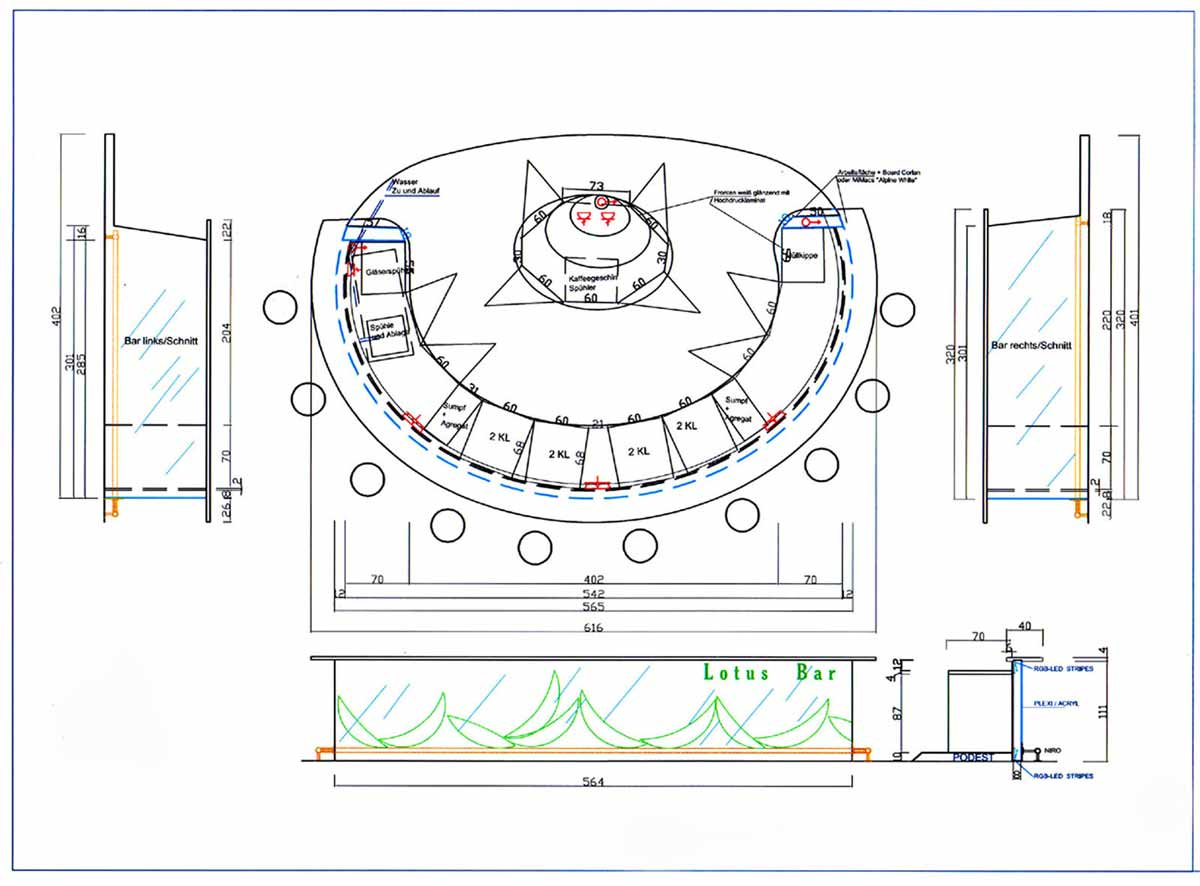 Technische Zeichnung für die Kaffee Sekt Bar in der SCS - Einteilung, Funktionen und Design Planung von Milo
