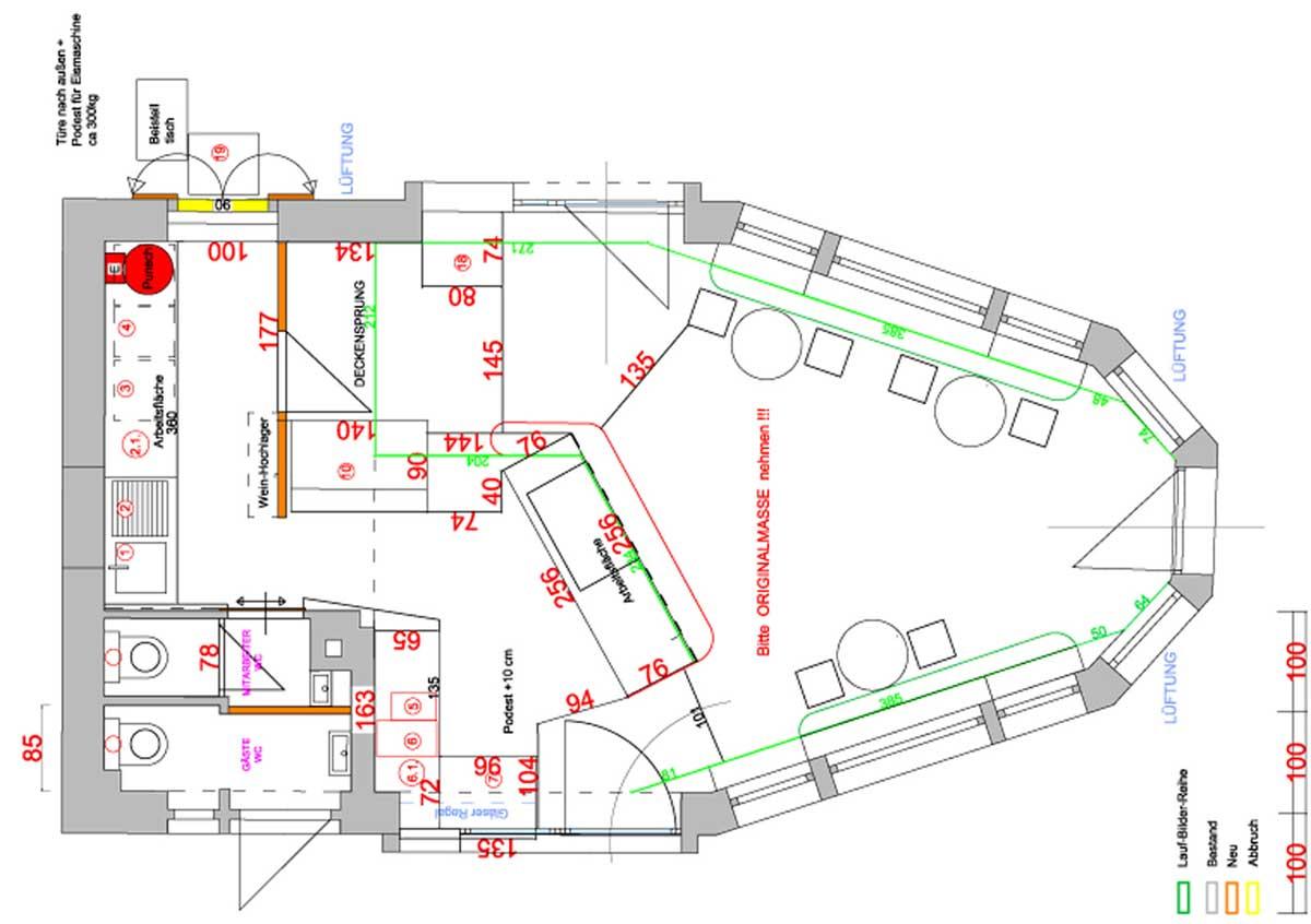 Schmankerl Platz - Grundriss Raum Einteilung - für eine elegante Interior Design Lösung und Planung