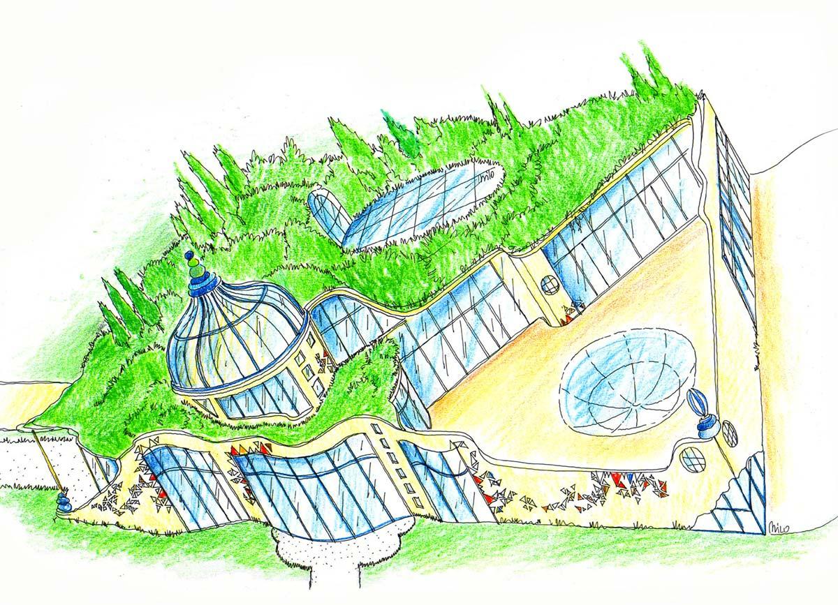 Glas Natur Haus Ideen Konzept - eine künstlerische Entwicklung und Ausstattungs Planung von Milo