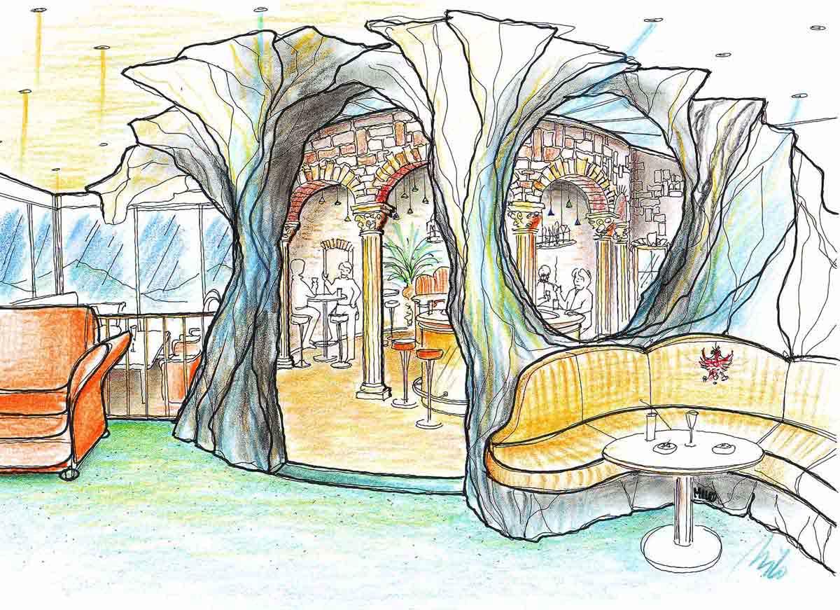 Grotten Musik Bar - eine Raum im Raum Themen Bar Design Planung von Milo