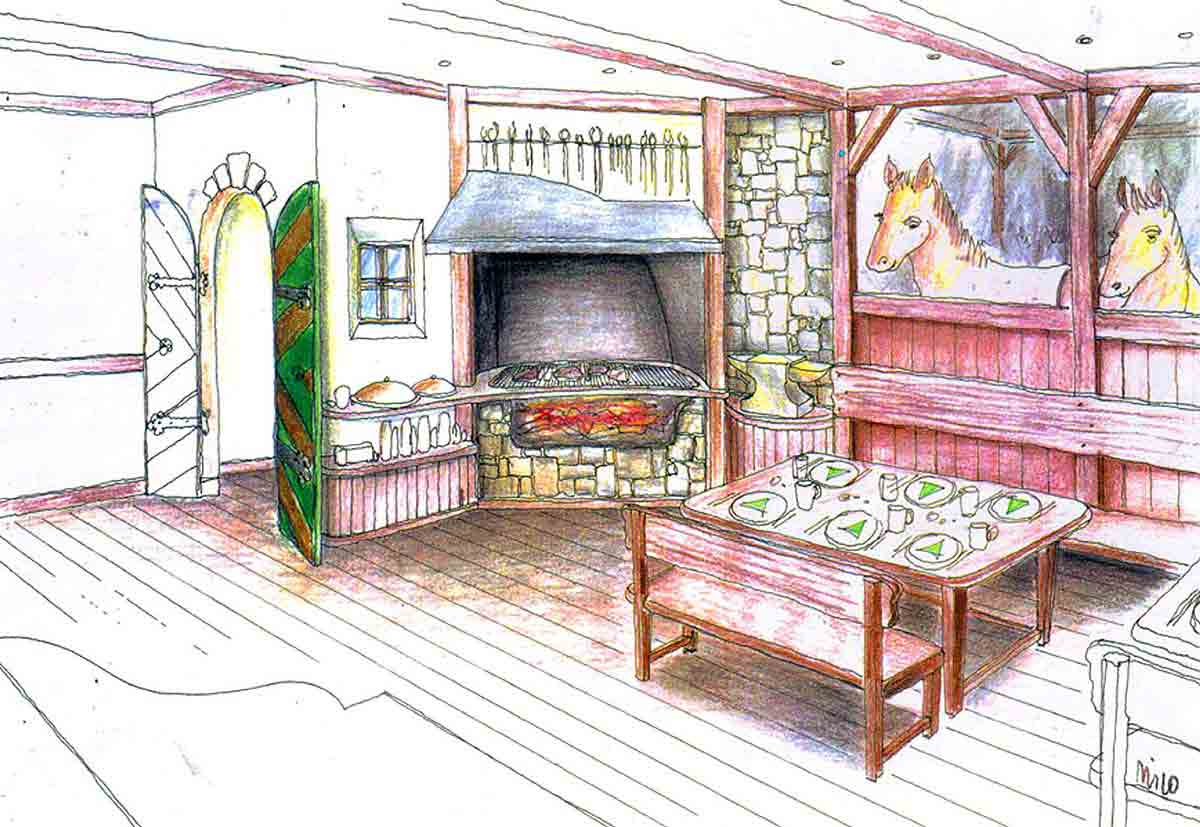 """Hotel Alte Post - Restaurant Entwurf Zeichnung für Milo´s Themen Interior Design Ausstattung für das """"Schmied Stüberl"""""""