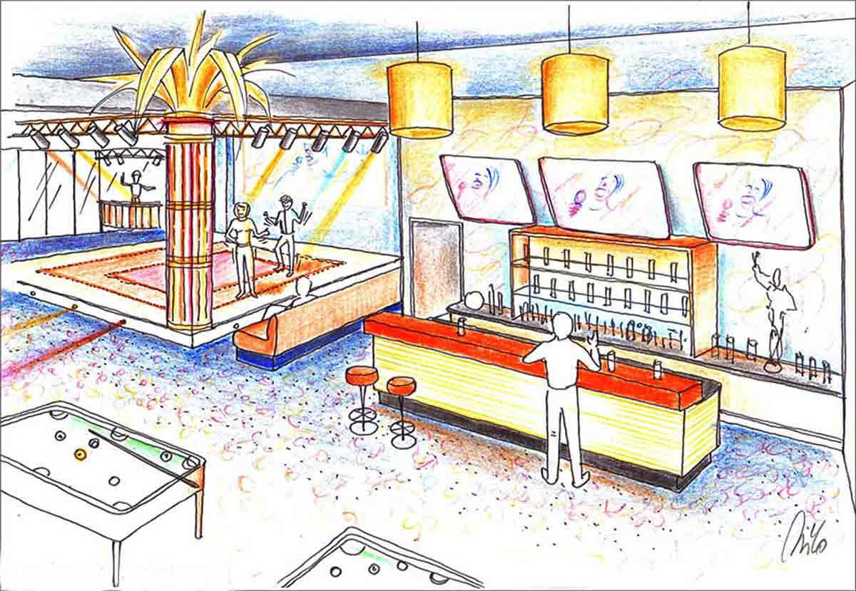 Disco Discotheken Design Variante 2 -  für Iasi - Raum und Interior Design Ausstattungs Planung Milo