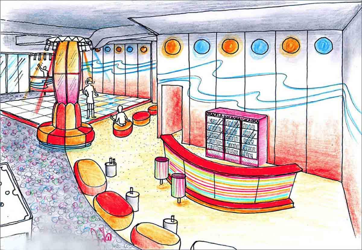 Disco Discotheken Design Variante für Iasi - Raum und Interior Design Ausstattungs Planung Milo