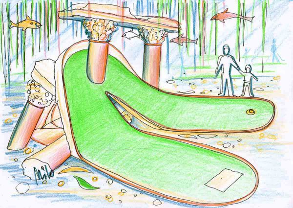 """Indoor Abenteuer Minigolf """"Atlanis"""" - tolle Themen Ausstattung einer untergegangenen Welt - Dekoration und Licht Design Planung Milo"""