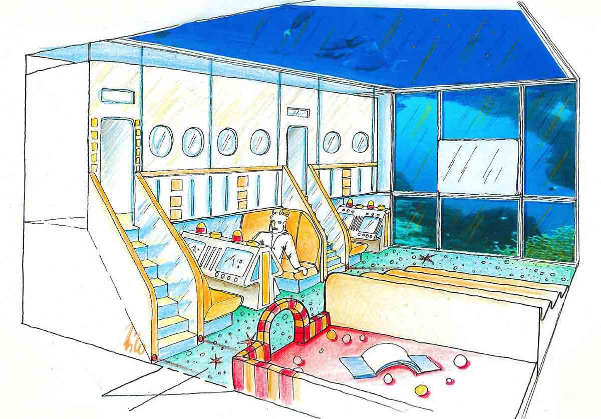 Indoor Kinder Garten Erlebnis Wasserwelt - ein Spielhalle mit tollen vielfältigen Bereichen - Ausstattung Design Planung Milo