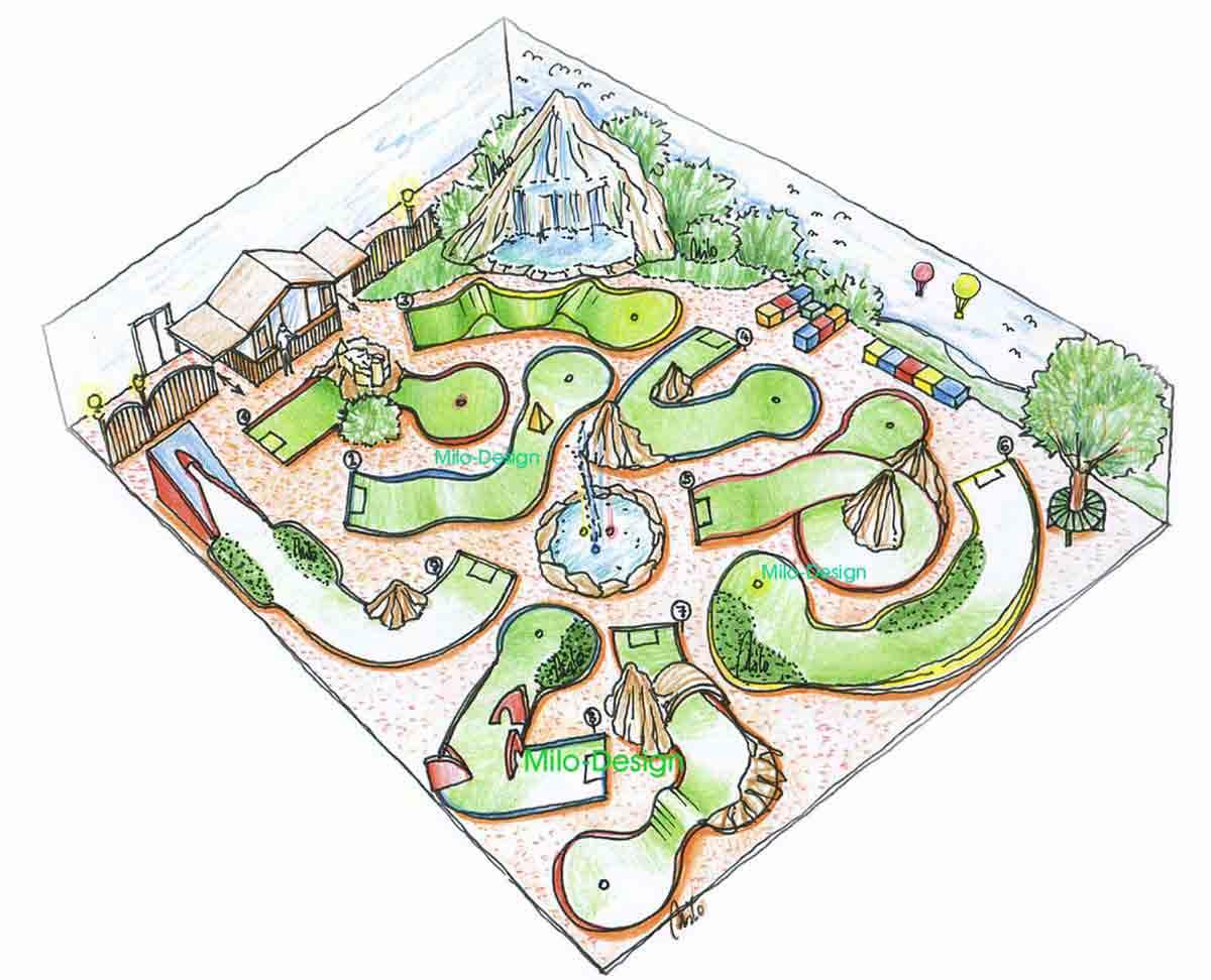 Indoor Minigolf Neunloch Abenteuer Themen Attraktion - Parklandschaft mit Wasserfall - Dekoration Ausstattung Design Planung Milo