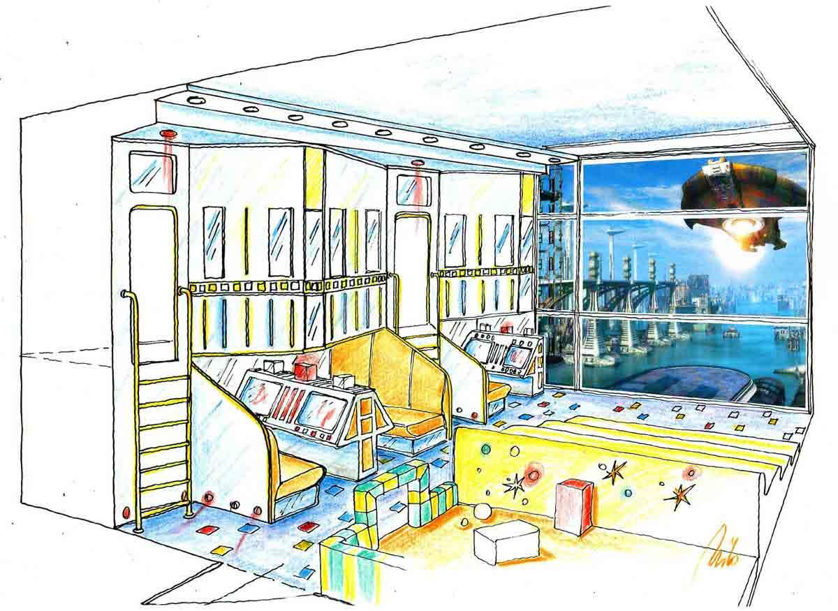 Kinder Garten Indoor Themen Spiel Raum - hier ein Raumhafen - mit Projektionen - Austtattung Design Planung Milo