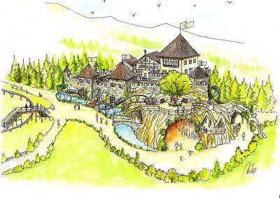 Themen Fun Park - eine Themenburg - ein riesen Abenteuer für die Kinder - mit vielen Spiel Bereichen - Konzept Design Planung Milo