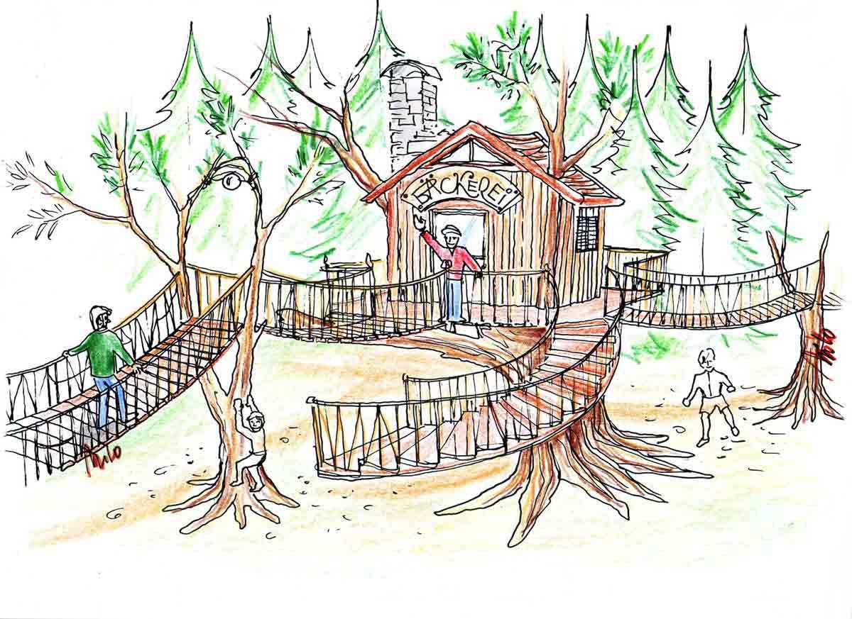 """Baumhäuser im Kinder Themen Park """"Wasserreich"""" Wolfgangsee - Design Planung Milo"""